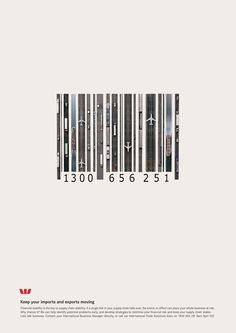 Westpac Bank Barcode Ad. Beautiful Minimalist Print Ads. www.momentum18.com/blog/beautiful-minimalist-print-ads/