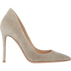 Gianvito Rossi Ellipsis Pumps ($309) ❤ liked on Polyvore featuring shoes, pumps, heels, gianvito rossi, grey, suede shoes, pull on shoes, gray suede shoes, grey suede shoes and gray pumps