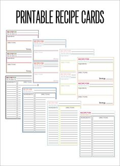 recipe cards printable recipe card template recipe sheet printable