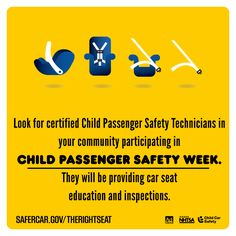 It's child passenger safety week. Find a certified car seat technician in Massachusetts, upcoming check-up events, and help spread the word!