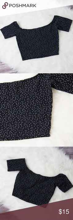 """American Apperal Polka Dots Crop Top Size M Size: M Brand: American Apperal Material: Combed Cotton, Elastane Condition: Great  MEASUREMENTS  (Taken while laying flat)  Length: (shoulder to hem) 13"""" Chest: (underarm to underarm) spreads to 17"""" American Apparel Tops Crop Tops"""