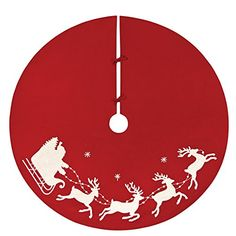 54 Tree skirt Flying Sleigh Red White Silhouette Applique * This is an Amazon Affiliate link. Learn more by visiting the image link.