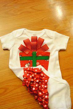 Ruffle Ribbon Bottom Christmas Present Bodysuit Onesie. $23.50, via Etsy.