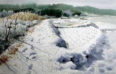 여백을 즐기는 수채화의 대가 [신종식] 화가 : 네이버 블로그 Watercolor Landscape, Watercolor Art, Watercolour Paintings, Watercolours, Korean Art, Winter Landscape, Contemporary Artists, Great Artists, Art Drawings
