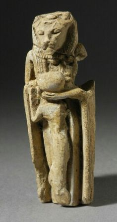 Faience sculpture of a lion-headed goddess with infant (no date). | Los Angeles County Museum of Art