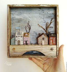 Купить Картина 'Весна в городе' домики, дрифтвуд-декор - картина-городок, весна в городе