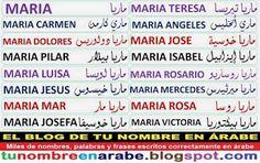 Mi nombre en Arabe: Maria Pilar Maria Jose