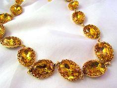 Golden Topaz Collet Necklace, Anna Wintour Style. Statement Riviere Necklace. Georgian, Regency, 18th Century, Josephine. by Dames a la Mode