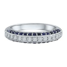 1/7 ct. tw. Diamond & Blue Sapphire Band in 14K Gold
