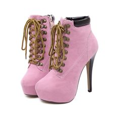 Pink Suede Lace Up Platform High Heel Booties ($30) ❤ liked on Polyvore featuring shoes, boots, ankle booties, heels, pink, lace up booties, suede booties, heeled booties, pink boots and lace up heel booties