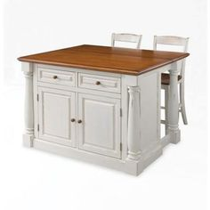 Home Styles Monarch Kitchen Island in White with Oak Top and Two Stools-5020-948 at The Home Depot