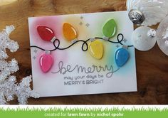 Lawn Fawn String of Lights   Custom Dye Ink Colored Christmas Lights Card
