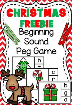 This Christmas Peg Game Freebie includes 24 different beginning sound cards. It's a great little addition to your literacy centers at this time of year. Hope you all enjoy and have a wonderful holiday! Preschool Christmas Activities, Preschool Literacy, Preschool Lessons, Literacy Activities, Christmas Worksheets, Kindergarten Centers, Kindergarten Classroom, Literacy Centers, Kindergarten Christmas
