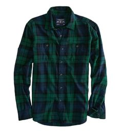 just picked this sucker up, American Eagle, no big logos, soft flannel shirt in perfect shade of Blue and Green