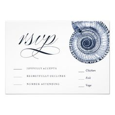 Sea Shell Beach Wedding | Traditional RSVP Card
