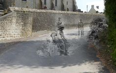 """Ghosts of History"" - A soldier sits on debris on a now-smooth road in Manche.  (Courtesy of Jo Teeuwisse)"