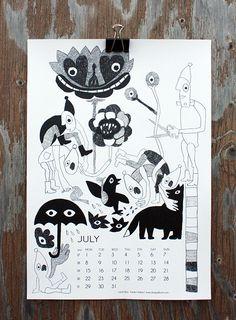 """Garden Helpers"" by Laura Merz, for July in calendar 13."