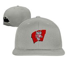 8e5ef86f6ed Wisconsin Badgers Flat Brim Hats Cool Baseball Caps