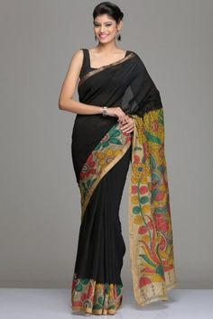Black Chanderi Kalamkari Saree With Floral Vine & Gold Zari Border With…