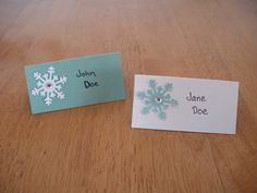 Wedding Escort Cards   Flower instead of snowflake and blush instead of white