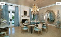 Sharon Osbourne's dining room  from House Beautiful  Maison Decor: Tiffany Blue French Chair