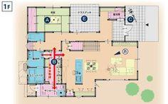 キッチンとお風呂の間にファミリークローク Craftsman Floor Plans, One Bed, Japanese House, House Layouts, Room Inspiration, House Plans, Flooring, How To Plan, Mansions