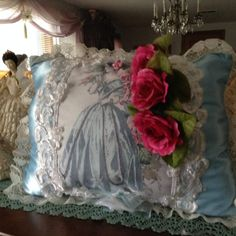 Throw pillow with image of a Victorian lady in by cindysvictorian