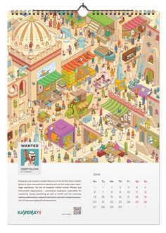 Kaspersky lab calendar 2016. Kaspersky Lab has been successfully engaged in the development of software to find viruses for many years. Therefore, a company offers to all recipients of the New Year calendar to try themselves in the role of anti-virus and find viruses-characters in the calendar pages.