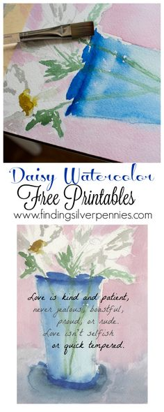 Daisy Watercolor Free Printables Love Quotes