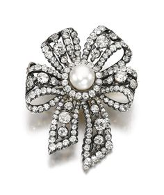 NATURAL PEARL AND DIAMOND BROOCH, KOECHERT, 1880S. Designed as a bow, set with a natural pearl measuring approximately 11.12 x 11.33 x 12.83mm and decorated with cushion-shaped and rose diamonds, Austrian assay marks, maker's mark for Koechert.