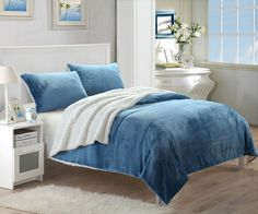 Chic Home Evie 3 Piece Blanket Set Ultra Plush Micro Mink Patchwork Stitched Bedding Blue