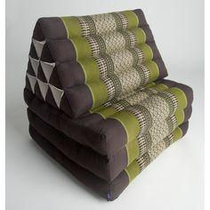 Triangle Thai Cushion With Three-Fold Mattress - Green/Brown