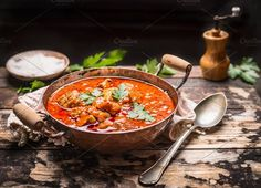 Meat stew in copper pan , rustic by VICUSCHKA on @creativemarket