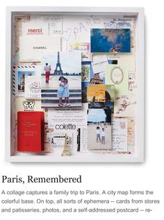 Use photos - maps and items found on your trip to make a great memory frame collage - thanks Martha S!