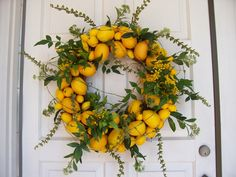 Lemon wreath for summer! Looove! Faux lemons and greens. DIY! Im doing ...
