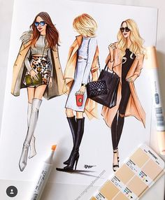 Fashion illustrations of street fashionistas by Houston fashion illustrator Rongrong DeVoe. More of her fashion sketches please visit www. Fashion Illustration Sketches, Illustration Mode, Fashion Sketchbook, Fashion Sketches, Fashion Design Illustrations, Fashion Art, Girl Fashion, Autumn Fashion, Fashion Trends