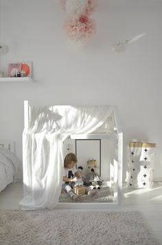 Decorate your child's room with this sweet and simple DIY tent. Lovely and cute!