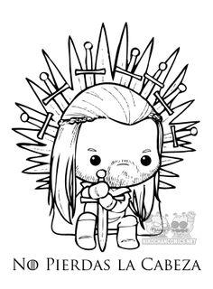 """Versión kawaii en b/n """"made in Nikochan"""" de la famosa imagen de portada usada por los creadores de la serie de TV, Game of Thrones."""