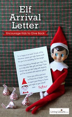 Christmas Elf on the Shelf Printable Arrival Letter. A special note from the North Pole that encourages kids to donate toys. A fun way to get kids into the holiday spirit. Get at http://livinglocurto.com