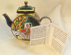 Kevin Chen Handmade #729 Enamel Miniature Teapot P Cezanne Still Life Picture by DeesEnchantedCottage on Etsy
