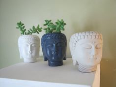 Buddha Head Plant Pot Concrete Planter with by WestWindHomeGarden
