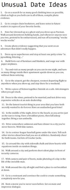 Date ideas - I think some of these are actually really cute