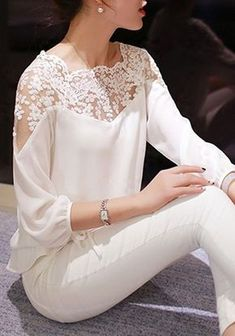 New Arrival High Quality Brand Womens Lace Three Quarter Sleeved Loose Chiffon Casual Shirts Tops Blouse Female Summer Shirts Outfits In Weiss, Look Fashion, Fashion Outfits, Fashion Blouses, Lace Embroidery, Blouse Styles, White Long Sleeve, Lace Tops, Blouses For Women