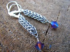 aluminum chainmaille swarovski earings