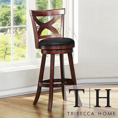 Tribecca Home Crosby Cherry X-back 29-inch Swivel Barstool