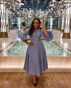 Fashion girl is giving us all the feels in this striped blue dress from . Short African Dresses, Latest African Fashion Dresses, African Print Dresses, African Print Fashion, Chic Outfits, Fashion Outfits, Woman Outfits, Office Outfits, Office Dresses For Women