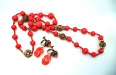 Retro Vintage Signed Miriam Haskell Necklace Earring Set Coral Art Glass Gold Filigree Beads Rhinestones