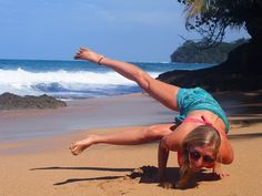 Anne in #sidecrow #yoga pose in #CostaRica. We found a hidden beach and spent some time playing around in #yogaposes!  #yogaeverydamnday