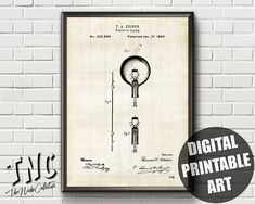 Light Bulb Patent | Patent Print | Edison Light Bulb Print | Patent Art | Light Bulb Poster | Patent Poster | Light Bulb Wall Art Thomas Edison Light Bulb, Patent Prints, Light Art, Printable Wall Art, Printables, Poster, Etsy, Design, Print Templates