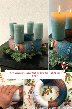 How to make a stunning woolen Advent wreath in a few easy steps? Find the right color for the wool, matching candles, and you're ready to go! Enjoy creating! #Adventwreath #DIY #Adventcrafts #Christmascenterpiece Wooden Christmas Tree Decorations, Christmas Table Centerpieces, Advent Wreath, Wreath Crafts, All Things Christmas, Christmas Diy, Holiday, Rustic Dinner Tables, How To Make Wreaths